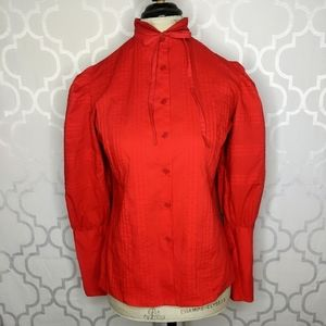 Vtg Skiva Int Red Button Down Top